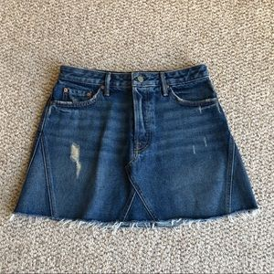GRLFRND Eva Distresses Blue Denim Mini Skirt 28
